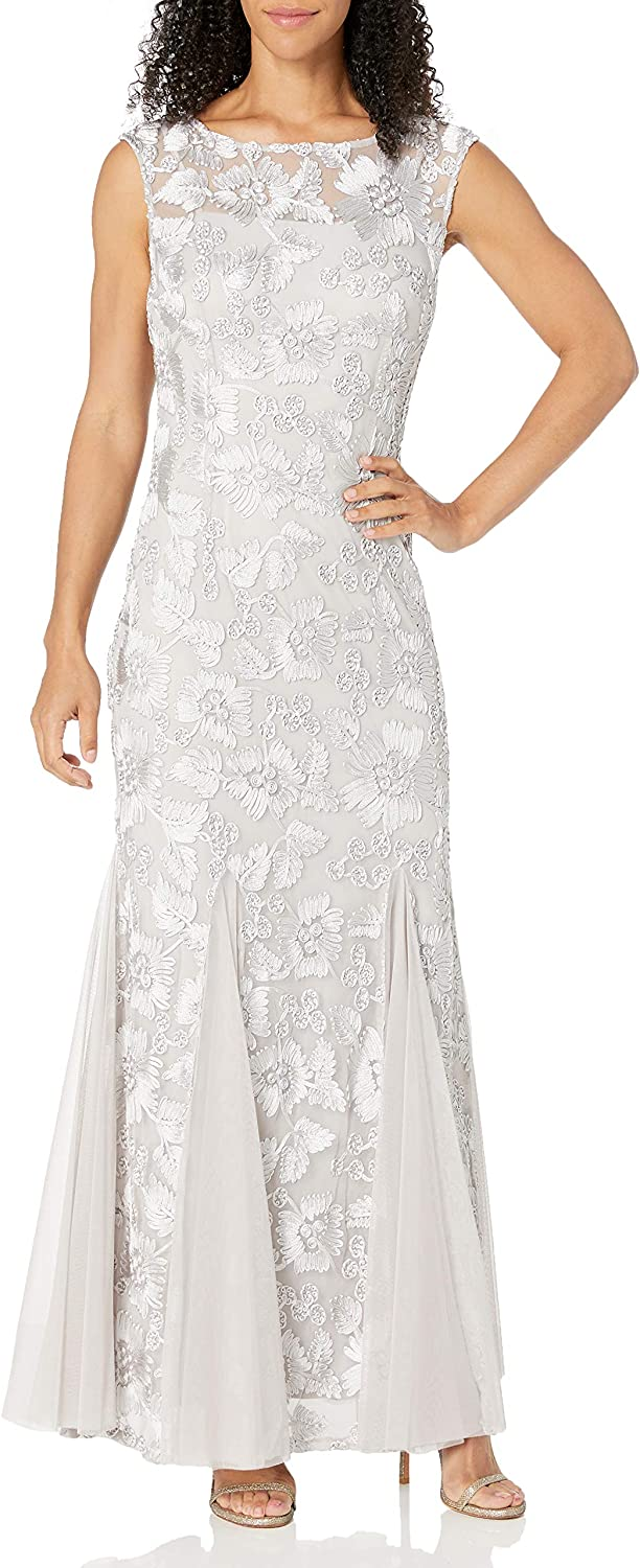 Alex Evenings Womens Embroidered Dress with Illusion Neckline
