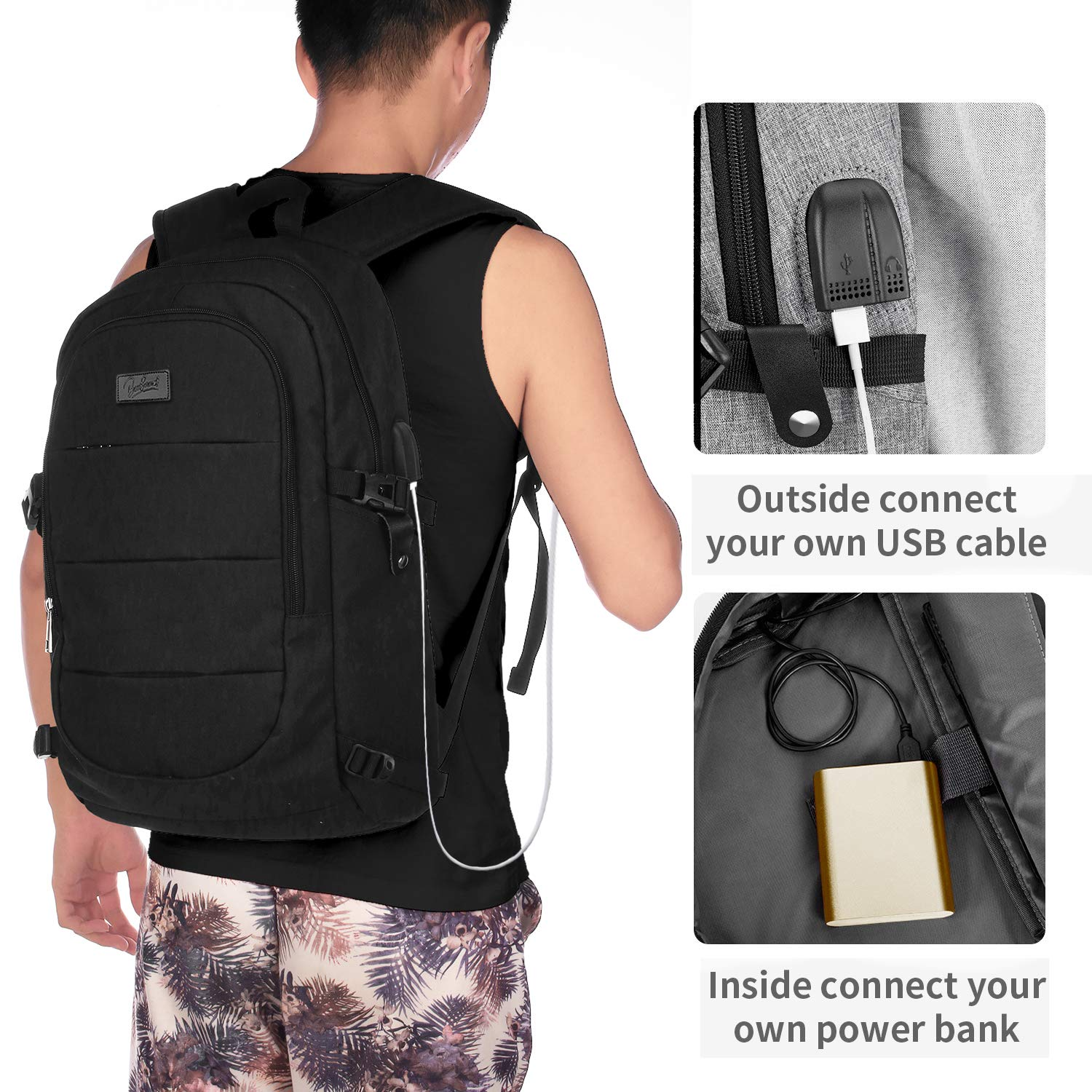 Travel Laptop Backpack,Business Backpack with USB Charging Port Headphone Interface for Men Women,Black