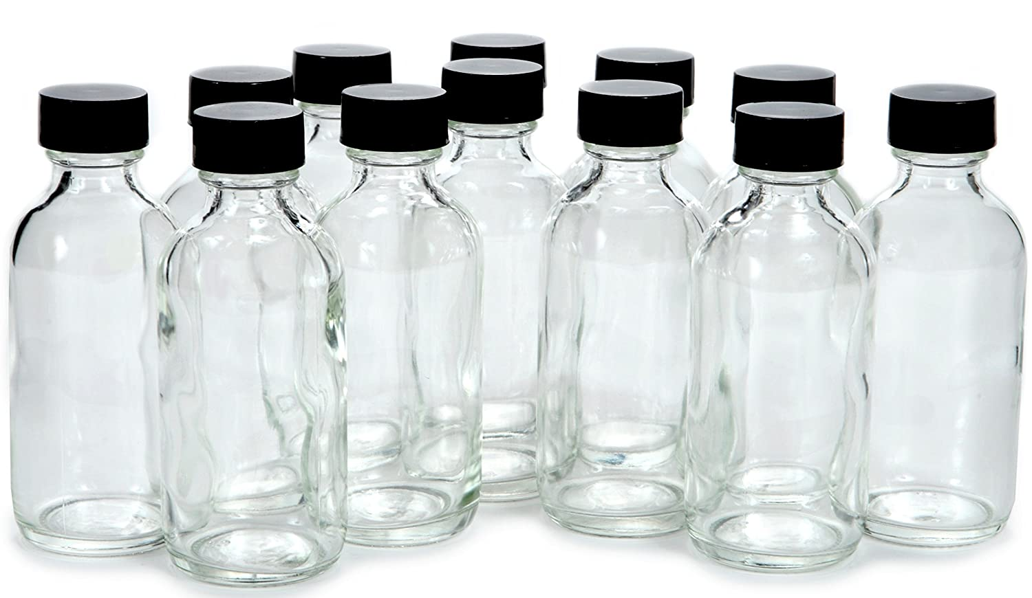 Vivaplex, 12, Clear, 2 oz Glass Bottles, with Lids