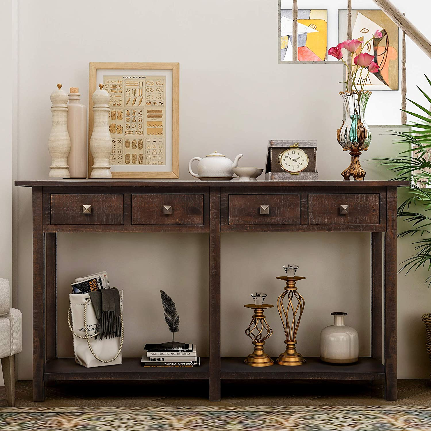 Rustic Brushed Texture Entryway Table with Storage Drawers, WeYoung Console Table with Drawers and Bottom Shelf for Living Room (Espresso)