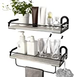 Ophanie Floating Shelves Wall Mounted Set of 2, Rustic Wood Wall Storage Shelves Organizer for Kitchen, Bathroom, 2 S-Shape H
