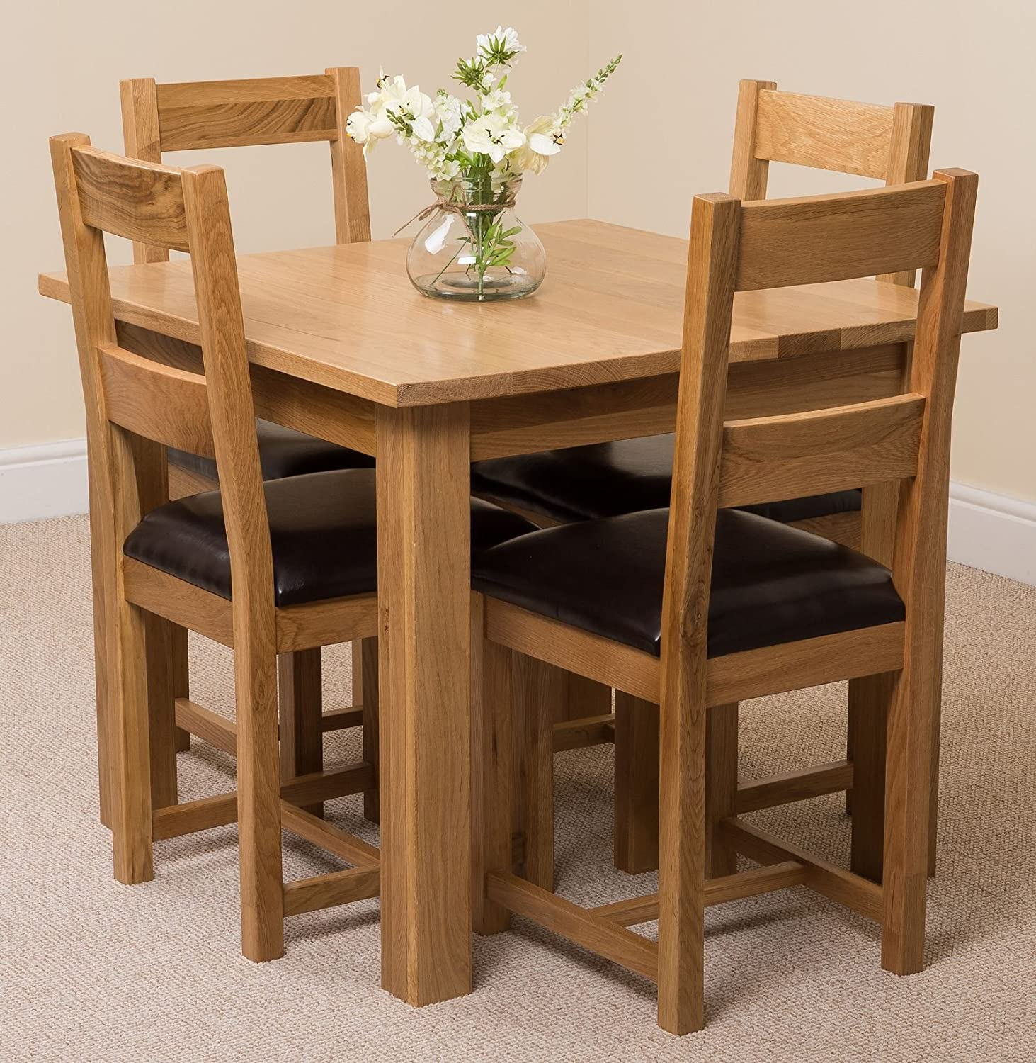 Oslo 90 X 90 Cm Oak Small Dining Table And 4 Chairs Dining Set With Lincoln Oak Chairs Amazon Co Uk Kitchen Home