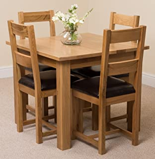 MODERN FURNITURE DIRECT Oslo 90cm Square Kitchen Solid Oak Dining Table + 4  Lincoln Oak Leather