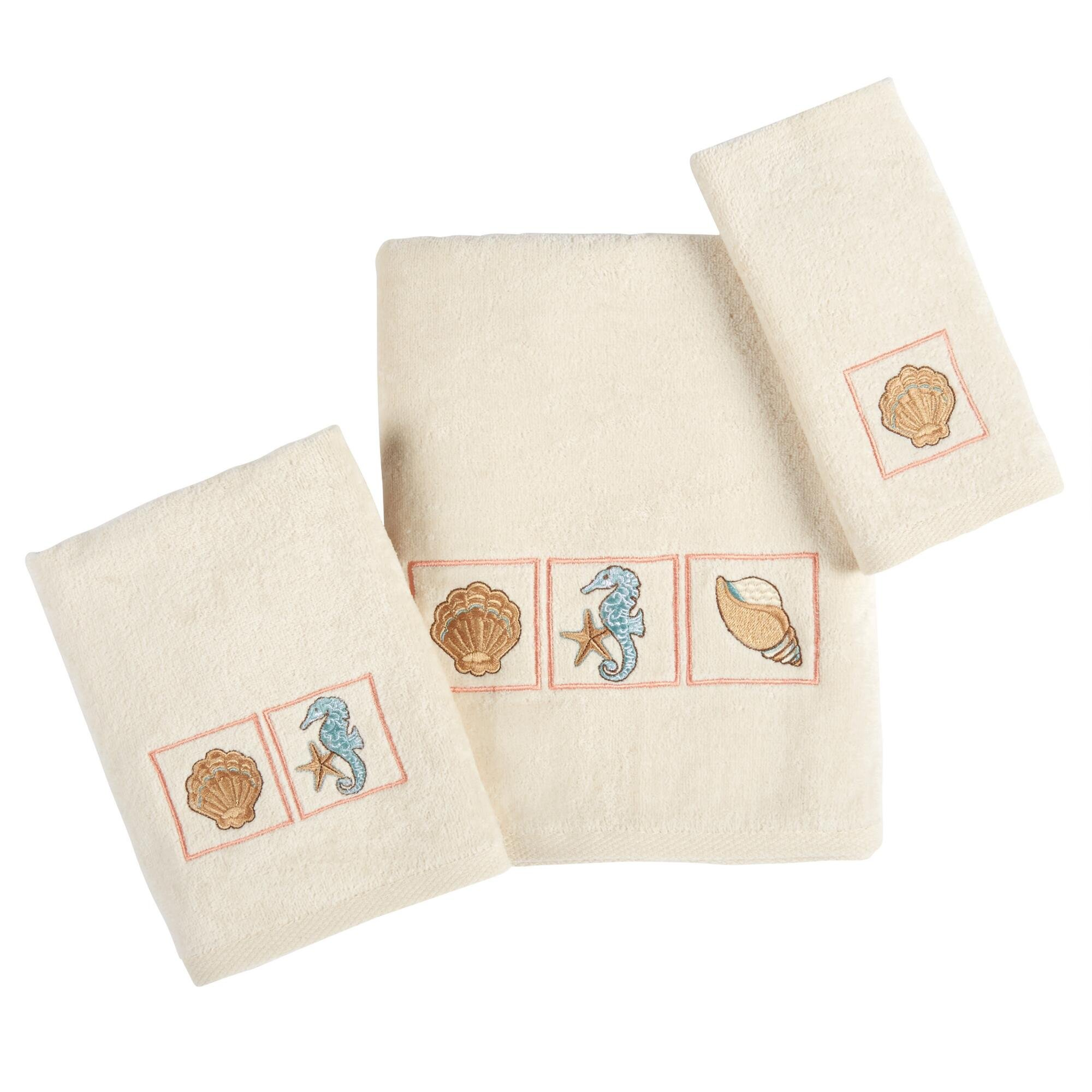 Traditions Cayman Coastal Cotton Embroidered Seashell Bath Towels Collection, Set of 3