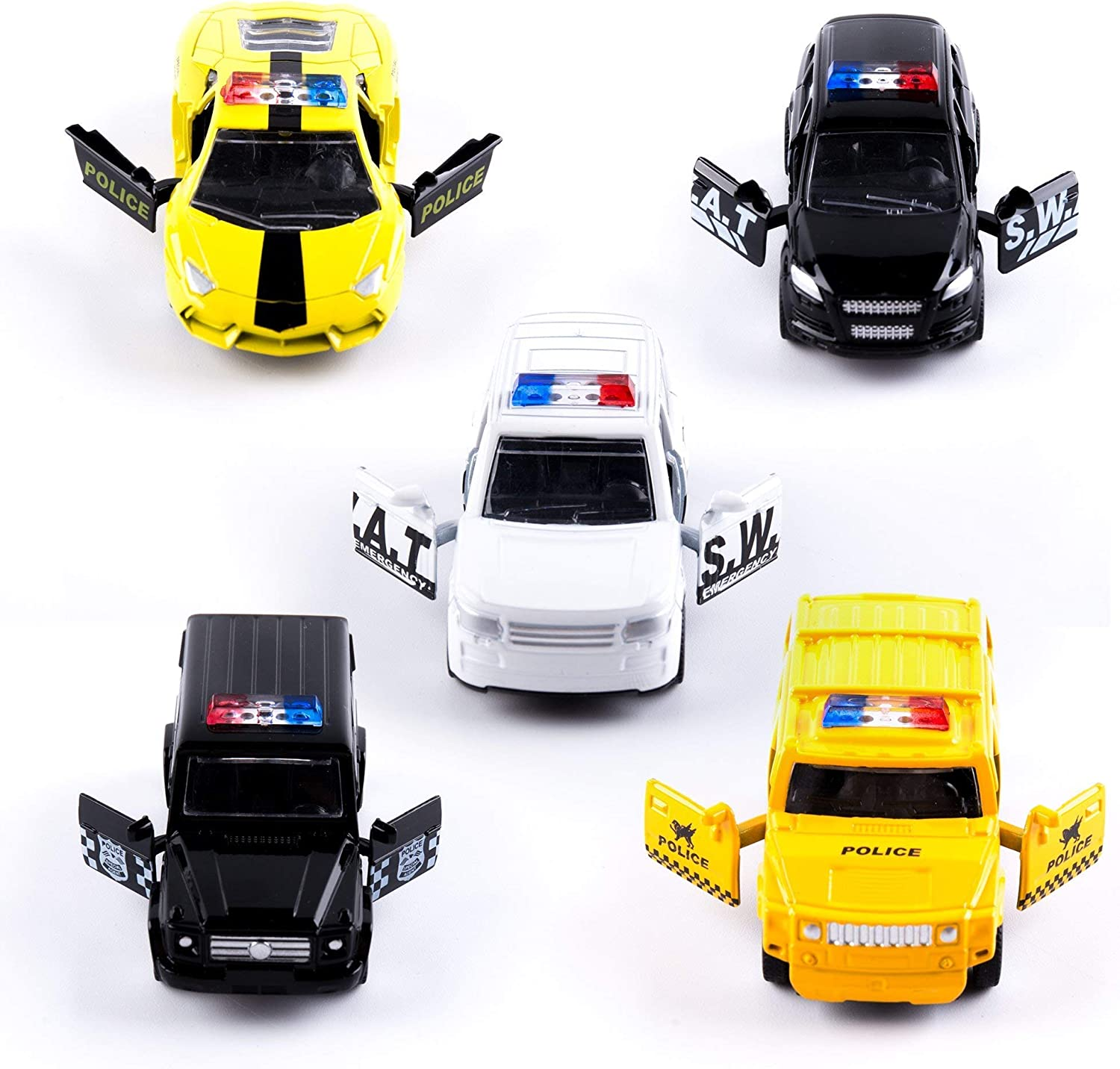 Die Cast Metal Toy Cars Pull Back Car with Openable Doors Gift for Kids Boys