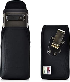 product image for Galaxy S10 Belt Clip Case, Turtleback Vertical Galaxy S10 Holster, Black Nylon Pouch with Heavy Duty Rotating Belt Clip, Made in USA