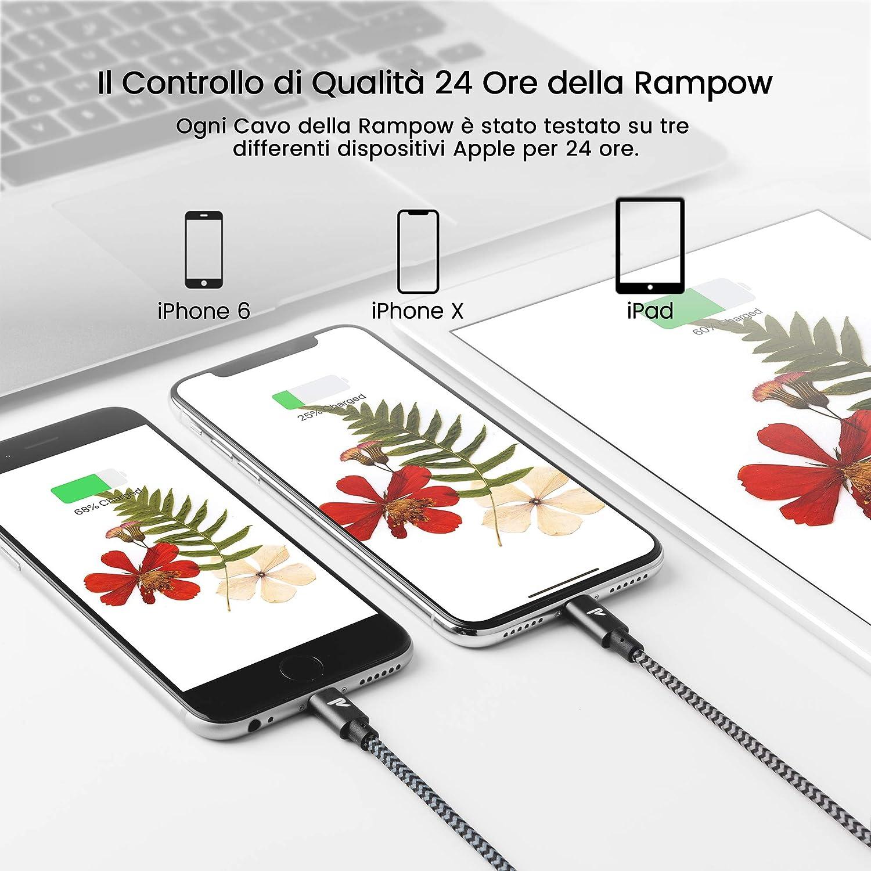 Cavo iPhone Compatibile con Apple iPhone XS//Max//XS//XR//X // 8//7 // 6 // SE Grigio 2M//6.5ft Certificato Apple MFi Rampow Cavo Lightning a USB