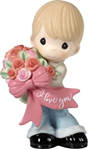 Precious Moments 172004 I Love You Boy with Flower Bouquet Bisque Porcelain Figurine, One Size, Multi