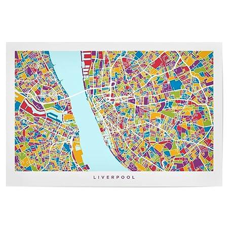 artboxONE Poster Maps Liverpool England Street Map 30x20 cm design ...