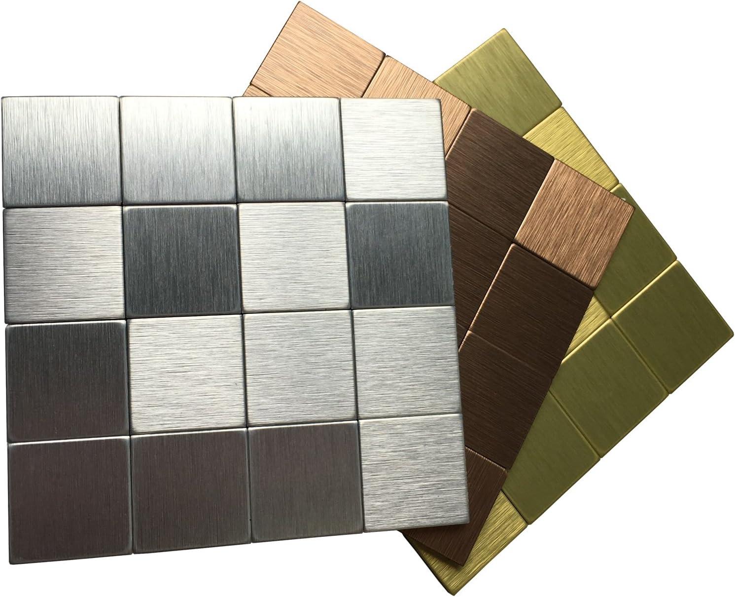 - Peel And Stick Tile Metal Backsplash For Kitchen, Copper-Champagne