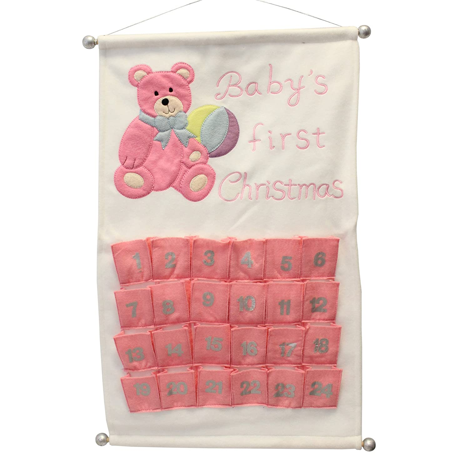 Baby's First Christmas Scroll Advent Calendar - Add your own Treats - Pink Premier Decorations