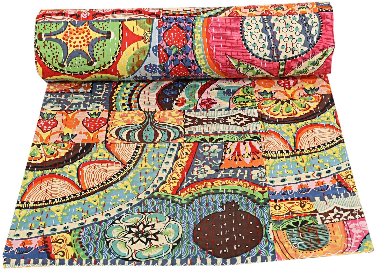 Vintage Hand Made Indian Kantha Quilt Bed Spread Throw King Size Home Decor Boho