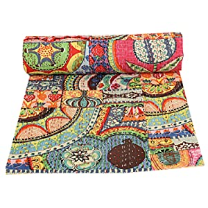 Indian Cotton Kantha Quilt Queen Bedspreads Throw Blanket (Multi Floral) Bohemian Bedspread , Bohemian Bedding , Handmade Kantha Quilt , Queen Size Kantha Quilt , Bed Cover