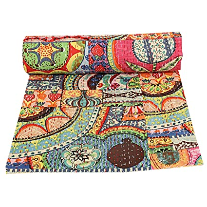 Queen Size Kantha Quilt Cotton Bedcover Floral Throw Gudari Bedspread Blanket Quilts, Bedspreads & Coverlets