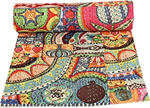 Indian Patch Work Cotton Kantha Quilt Queen Bedspreads Throw Blanket Multi Floral Bohemian Bedspread Bohemian Bedding Handmade Kantha Quilt King Size 88 X 106 Inch Quilt Patch Quilt Bed Cover