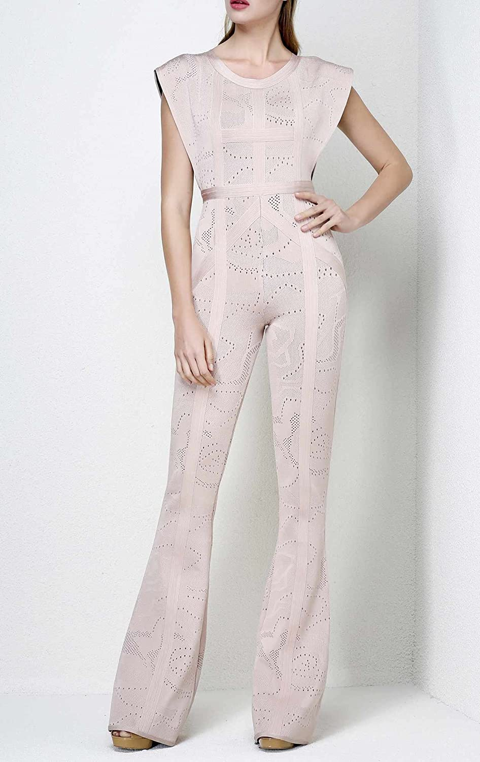 1934feeb73 Leger Babe Kasie Rose Multi-Texture Plaited Jacquard Jumpsuit at Amazon  Women s Clothing store