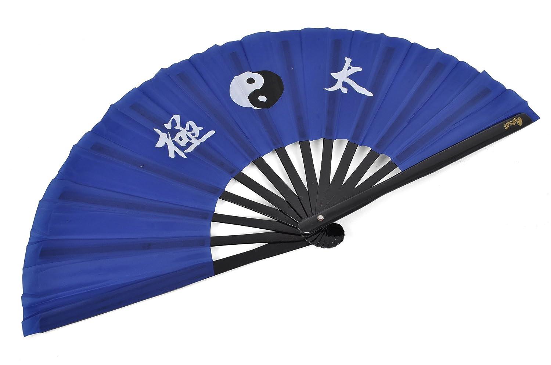 Abánico Tai Chi (Tai Ji Shan) bambú - Diestro, Azul Oscuro imprimido ShenLong