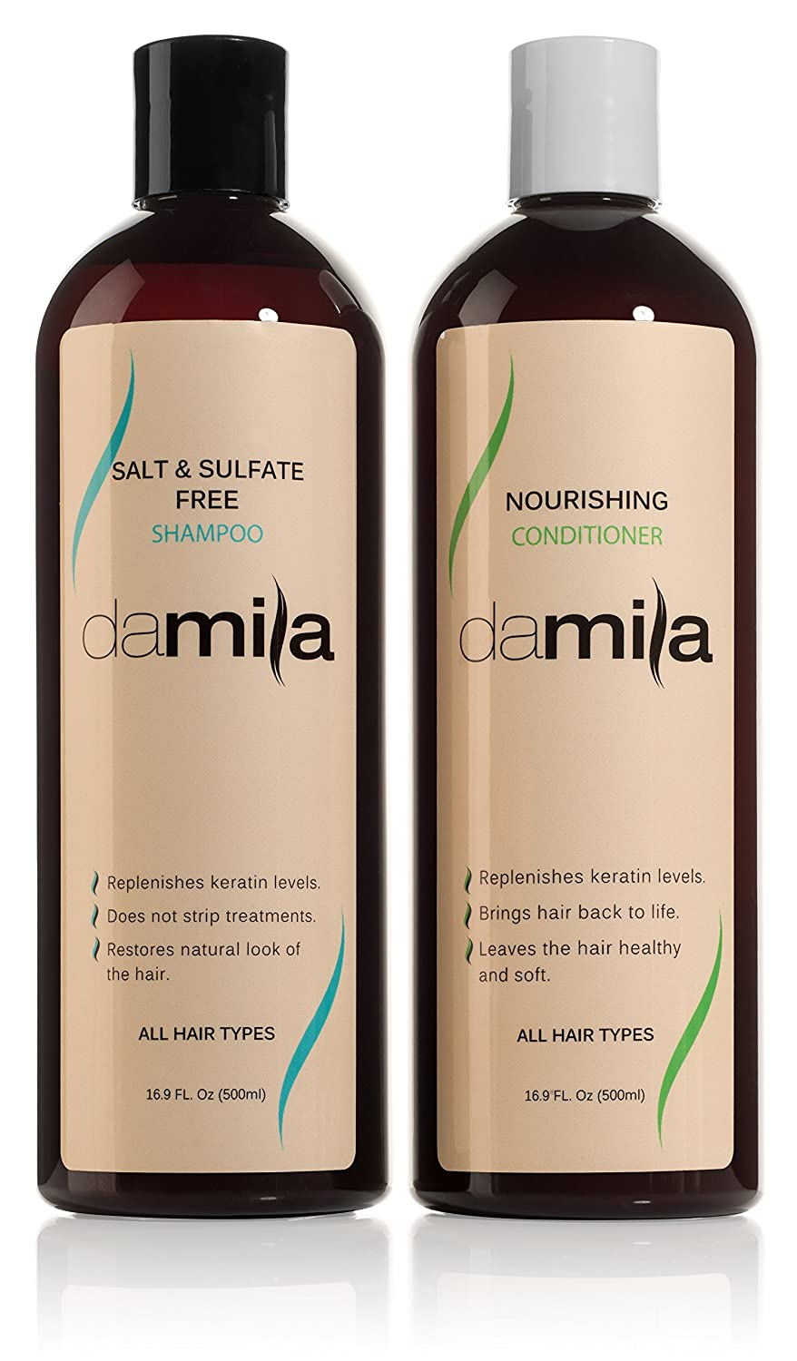 Salt & Sulfate Free Shampoo and Nourishing Conditioner - Keratin Complex. For Daily Use, Combo Set. Extends the Life of Keratin Treatment & Enhances Results and Restores Hair - 16.9 Oz / 500 ml