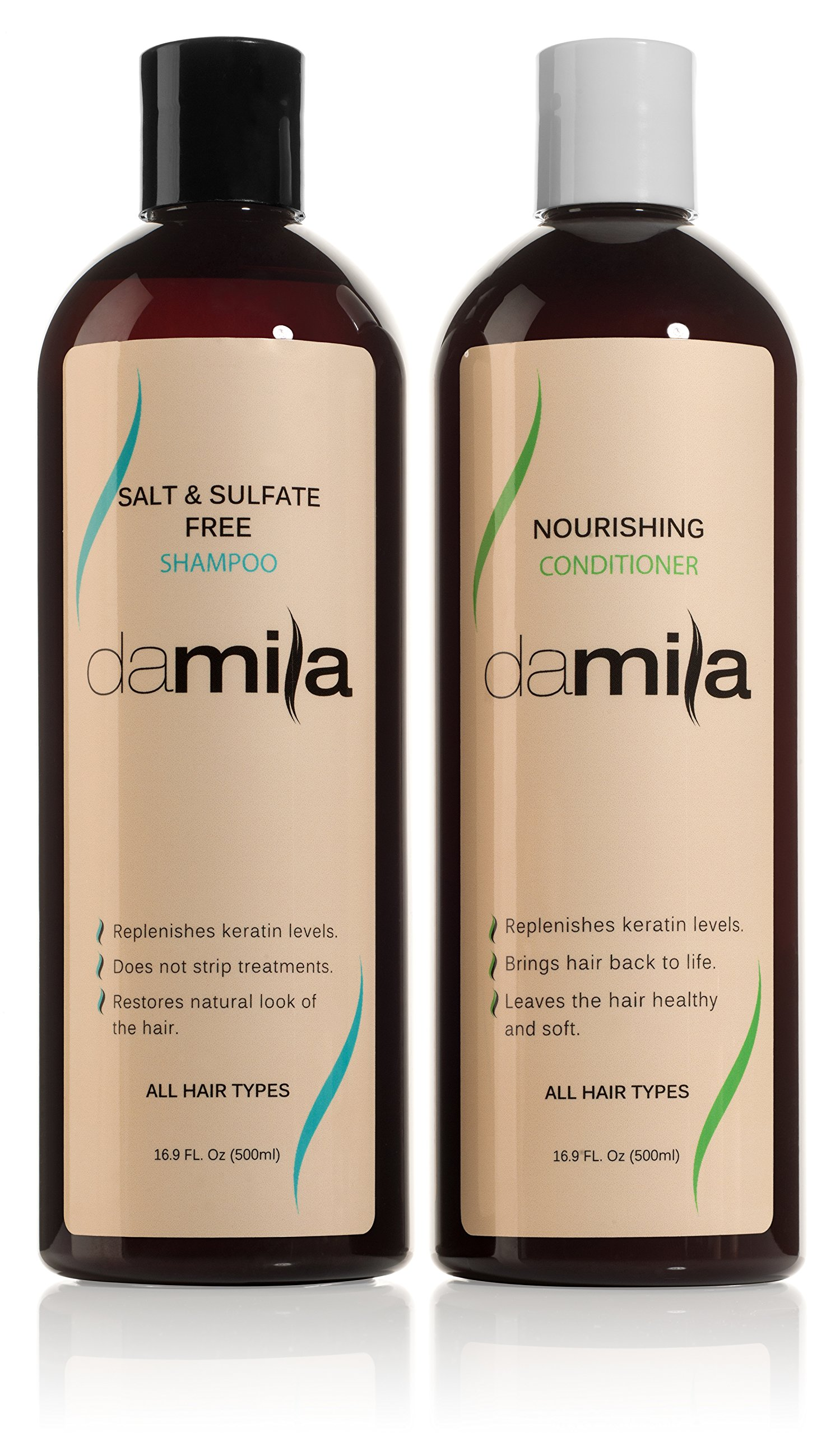 Salt & Sulfate Free Shampoo and Nourishing Conditioner - Keratin Complex. For Daily Use, Combo Set. Extends the Life of Keratin Treatment & Enhances Results and Restores Hair (16.9 Fl Oz) by Damila