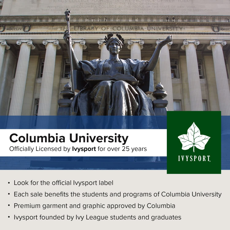 Ivysport Columbia University Cotton Long Sleeve T-Shirt by Crown Logo Long Sleeve T-Shirt Navy