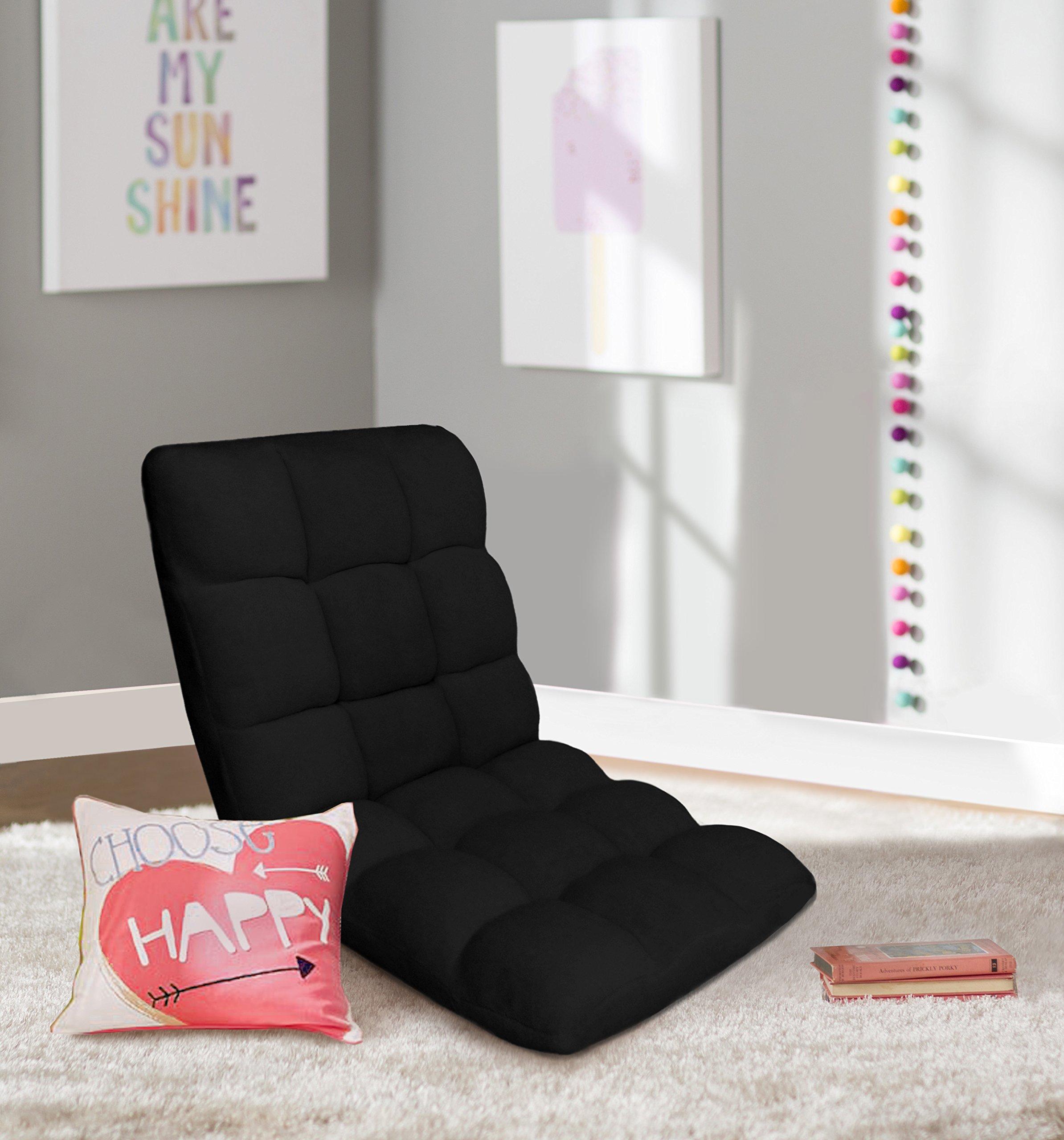 Iconic Home Daphene Adjustable Recliner Rocker Memory Foam Armless Floor Gaming Ergonomic Chair, Black