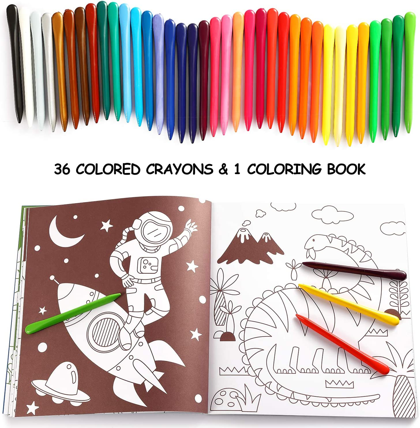 Mibor Crayons Set with Kids Coloring Book - 36 Washable Crayons with 80 Pages Coloring Book, Kids Art Paint Sets, Crayon Painting Supplies for Kids Students Toddlers Beginners Drawing Party Favors: Toys & Games