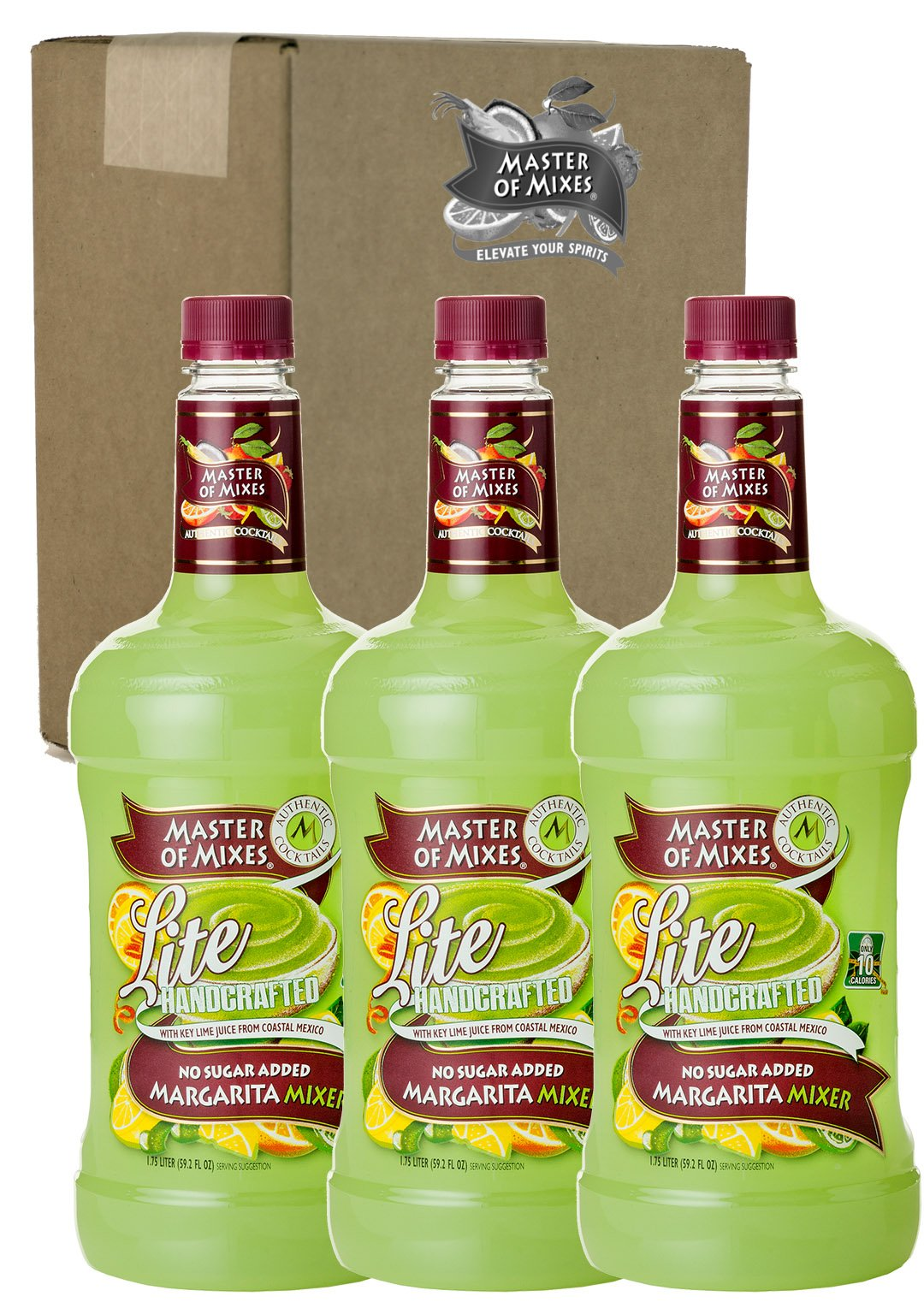 Master of Mixes Margarita Lite Drink Mix, Ready To Use, 1.75 Liter Bottle (59.2 Fl Oz), Pack of 3