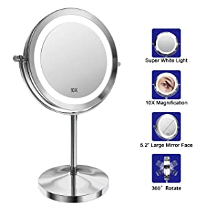 Lighted Makeup Mirror, 7 Inch Led Vanity Swivel Mirror 1x/10x Magnifying Double Sided Mirror With Stand Battery Operated