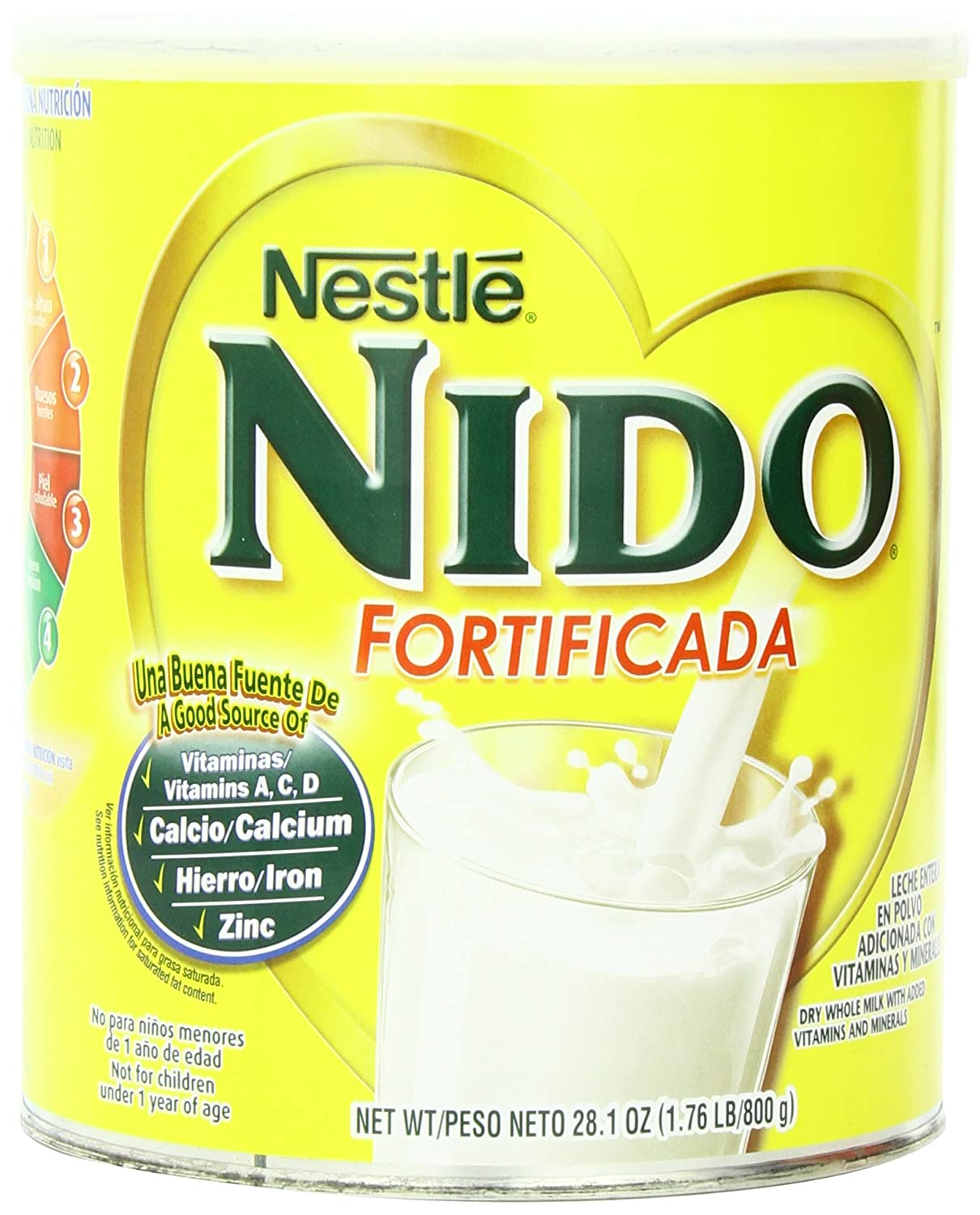 Nestle Nido Instant Dry Whole Milk Powder, Fortificada, 1.76 Pound Can: Amazon.es: Alimentación y bebidas