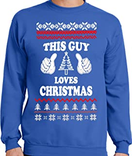 publiciteez funny big and tall this guy loves christmas ugly faux christmas sweater - Big And Tall Christmas Sweaters