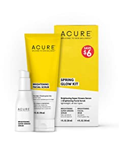 Acure, 100 Vegan For A Brighter Appearance Includes Brightening Facial Scrub Super Greens Serum 2, Spring Glow Kit