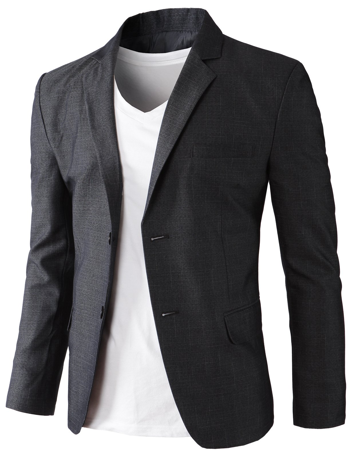 H2H Men's Casual Double-Breasted Jacket Slim Fit Blazer Charcoal US XL/Asia 3XK (KMOBL0125)