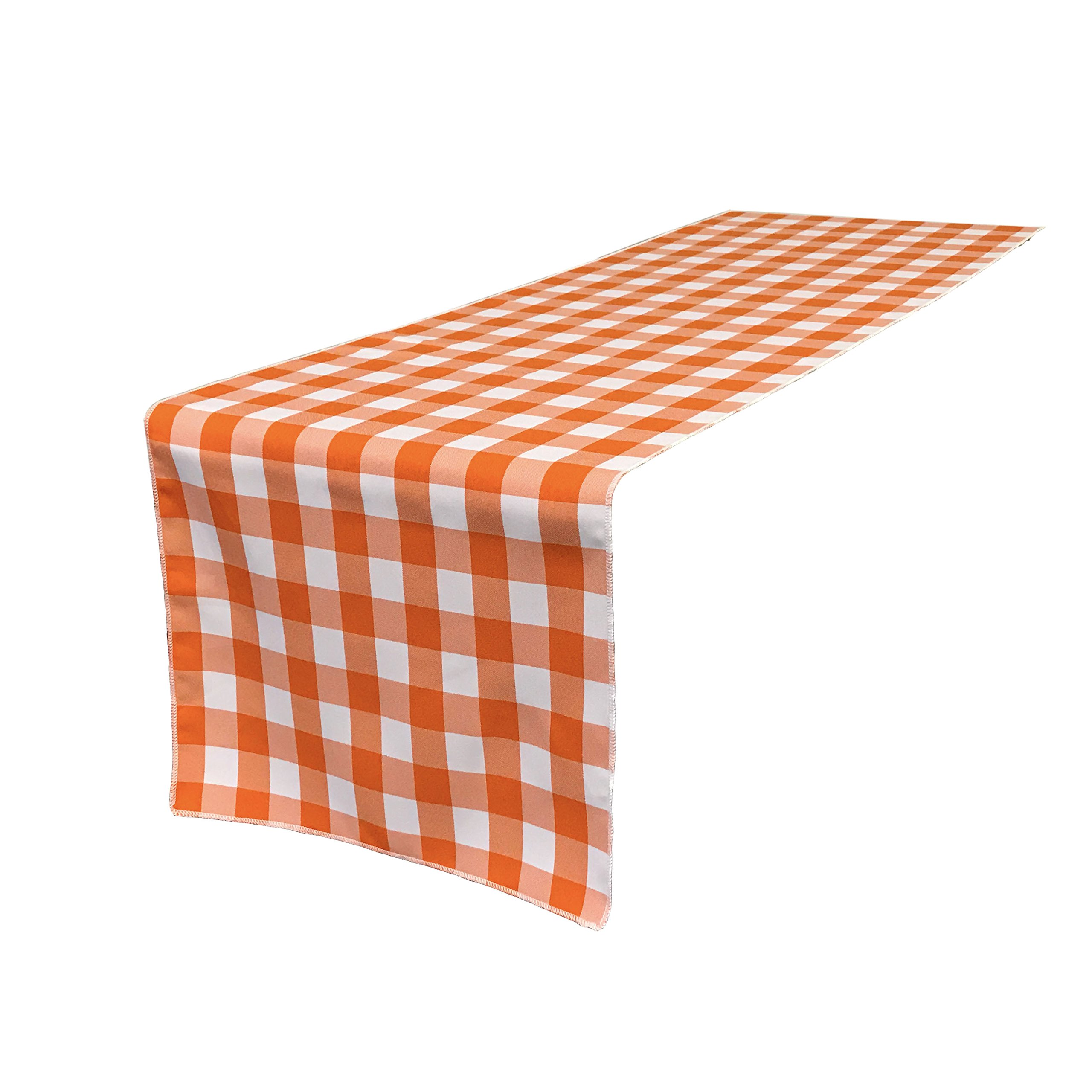 LA Linen Poly Checkered Table Runner, 14 by 108-Inch, Orange/White