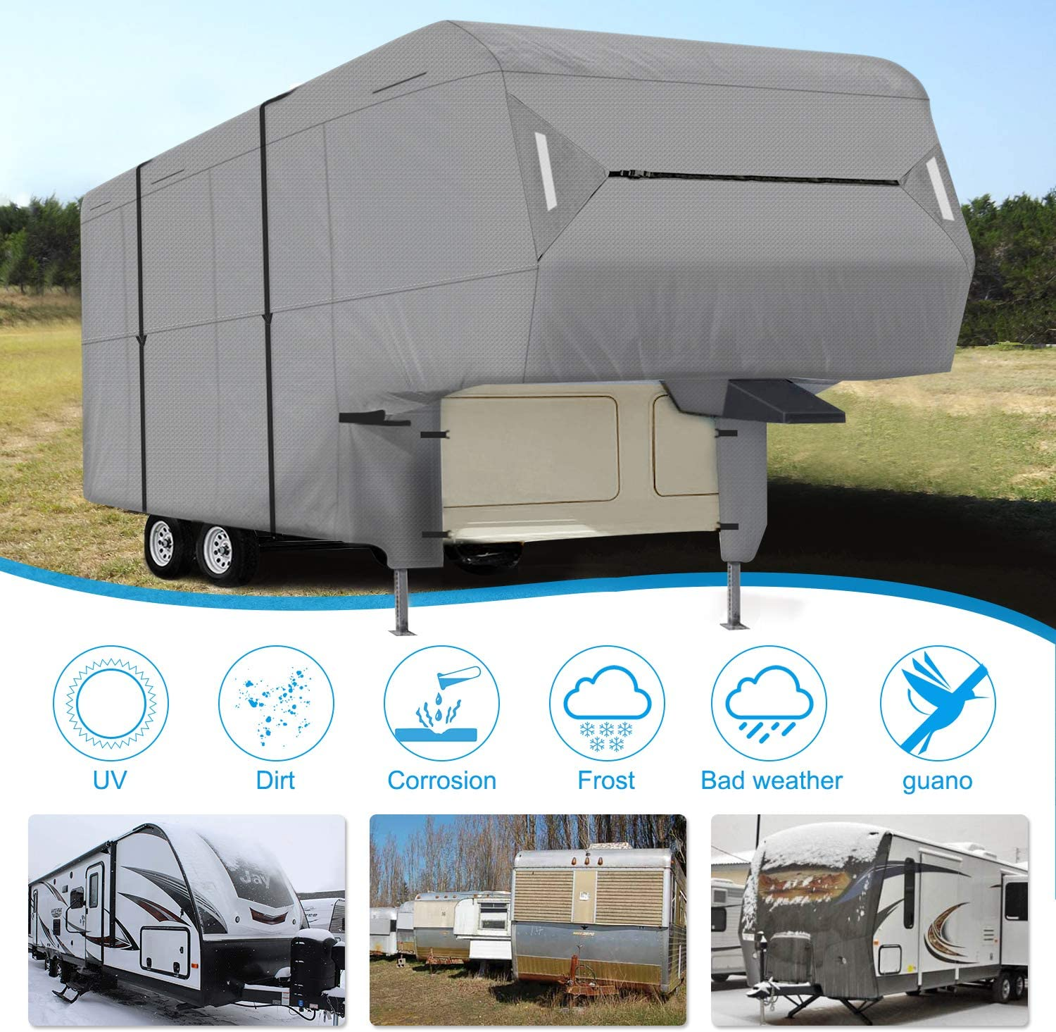 Ripstop Waterproof RVs Covers 33-37 XGEAR RV Cover 5th Wheel RV Cover Thick 3-Ply Top Panel