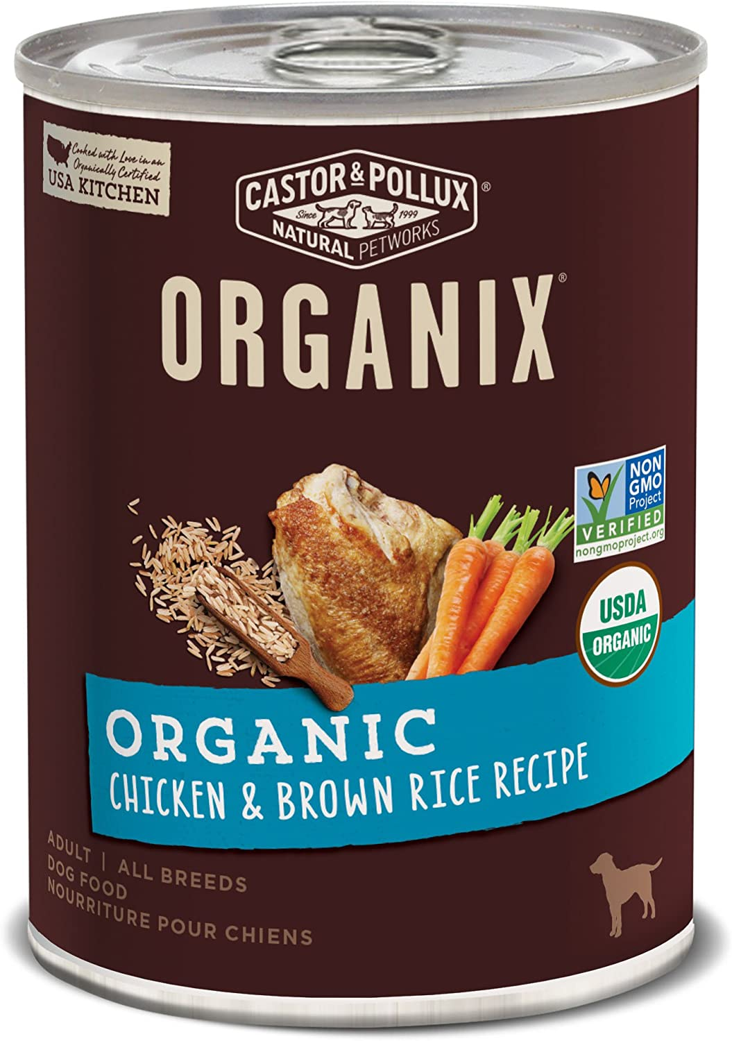 Castor & Pollux Organix Organic Chicken & Brown Rice Recipe Adult Canned Dog Food, (12) 12..7oz cans
