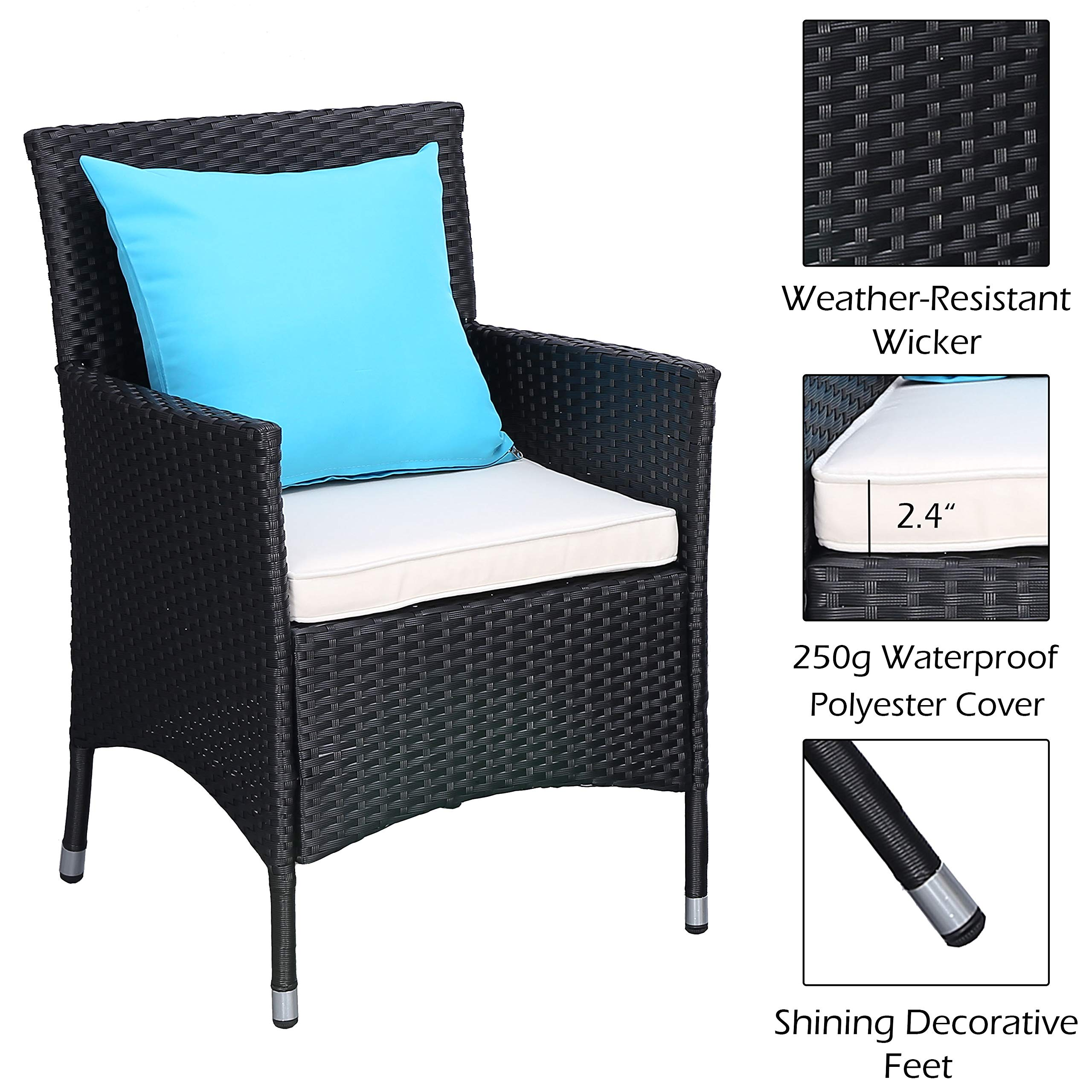Do4U 3 Pieces Patio Furniture Set Outdoor Wicker Conversation Set Cushioned PE Wicker Bistro Set Rattan Chairs with Coffee Table | Porch, Backyard, Pool Garden | Dining Chairs (961-BLK-BEG) by Do4U (Image #6)