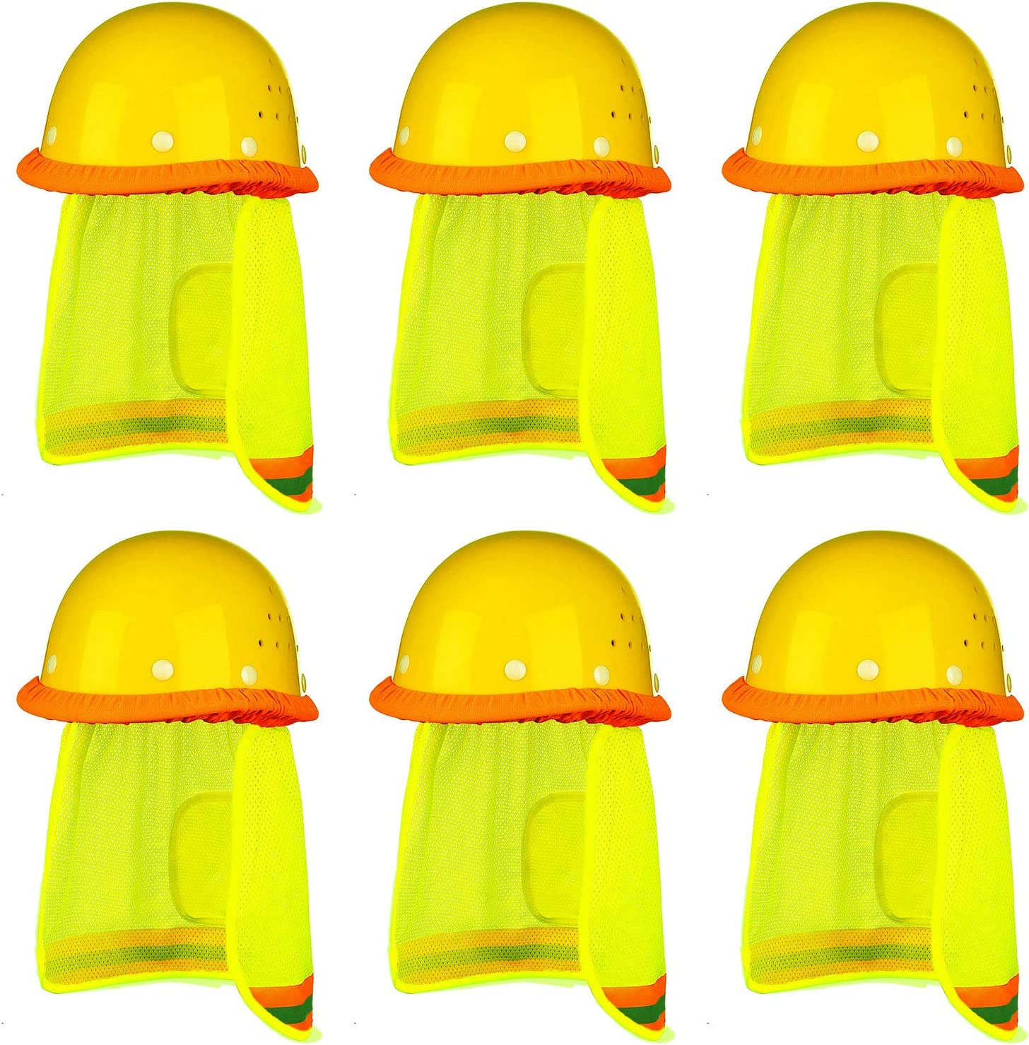 Trounistro 6 Pack Hard Hat Sun Shield Full Brim Mesh Neck Sunshade with Reflective Stripe Mesh Sun Shade Protector