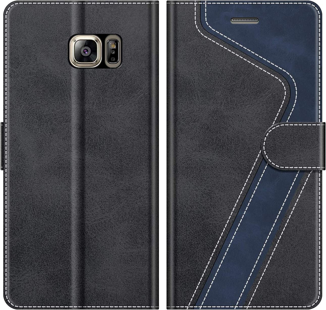 MOBESV Funda para Samsung Galaxy S6 Edge Plus, Funda Libro Samsung S6 Edge Plus, Funda Móvil Galaxy S6 Edge+ Magnético Carcasa para Samsung Galaxy S6 Edge Plus Funda con Tapa, Negro