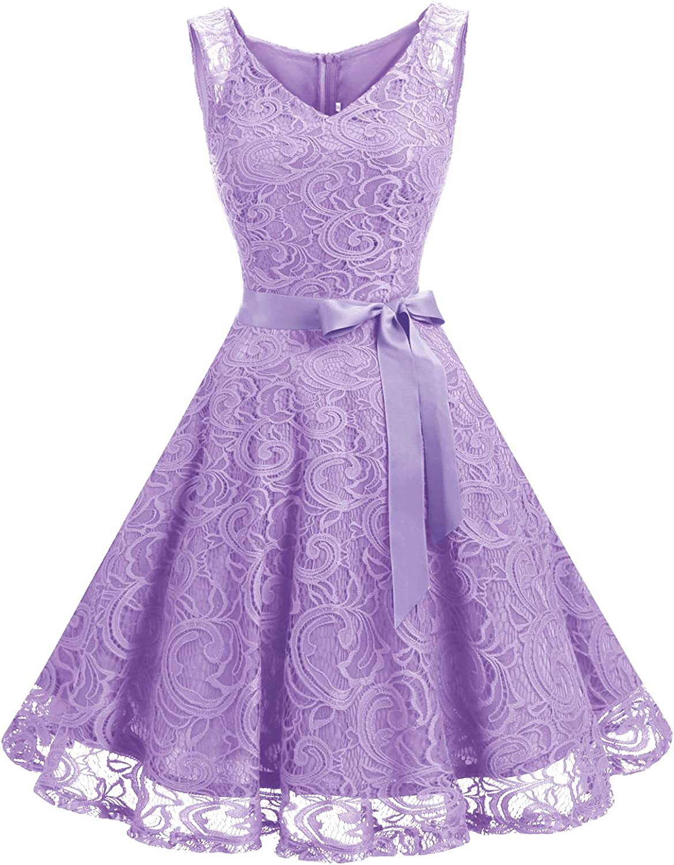 TALLA M. Dressystar Vestido Corto Elegante Mujer De Encaje Sin Mangas con Lazo para Madrina Fietsa Lavender