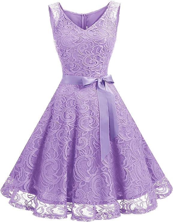 TALLA XL. Dressystar Vestido Corto Elegante Mujer De Encaje Sin Mangas con Lazo para Madrina Fietsa Lavender XL
