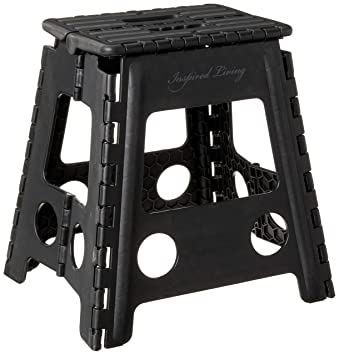 Groovy Inspired Living Folding Step Stool Heavy Duty 16 High Black Gamerscity Chair Design For Home Gamerscityorg