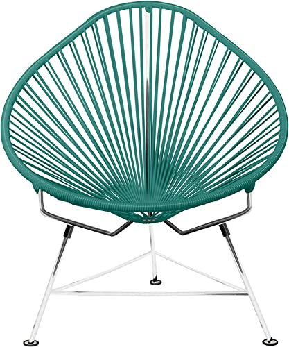 Innit Designs Acapulco Chair, Chrome Frame with Turquoise Weave