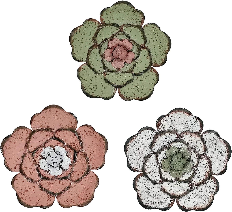 SQshun 8 InchMultiple Layer Flower Metal Wall Art Decor (colorful)
