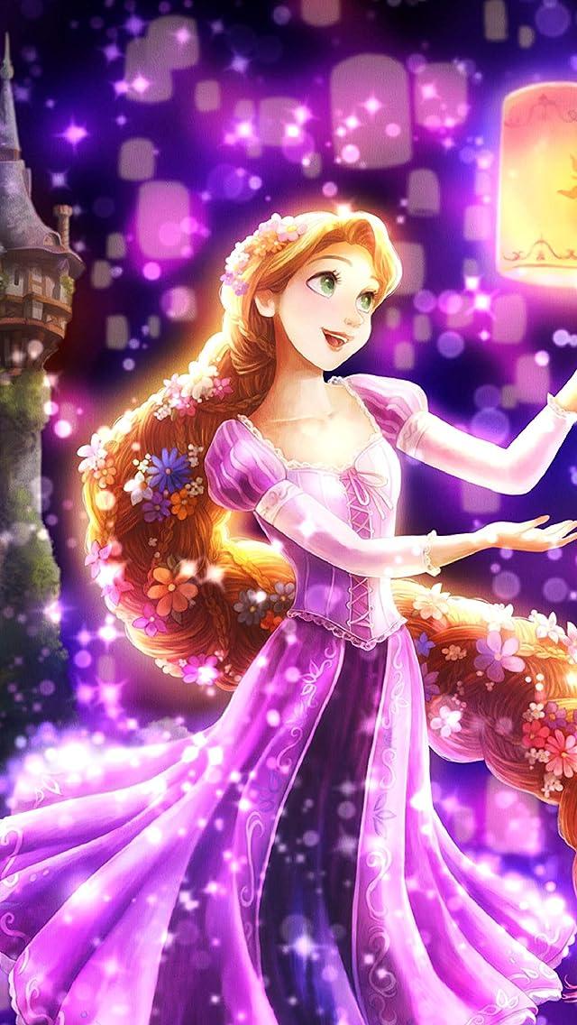 ディズニー 夜空に灯る夢(ラプンツェル) iPhoneSE/5s/5c/5(640×1136)壁紙画像