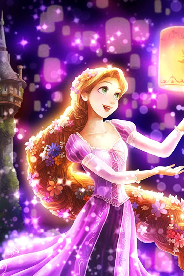 ディズニー 夜空に灯る夢(ラプンツェル) iPhone(640×960)壁紙画像