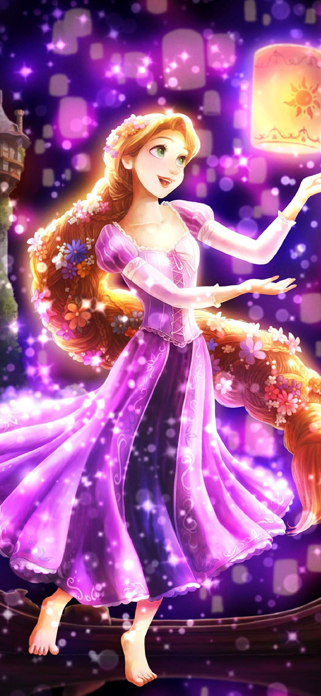 ディズニー 夜空に灯る夢(ラプンツェル) iPhone X 壁紙(1125x2436)画像