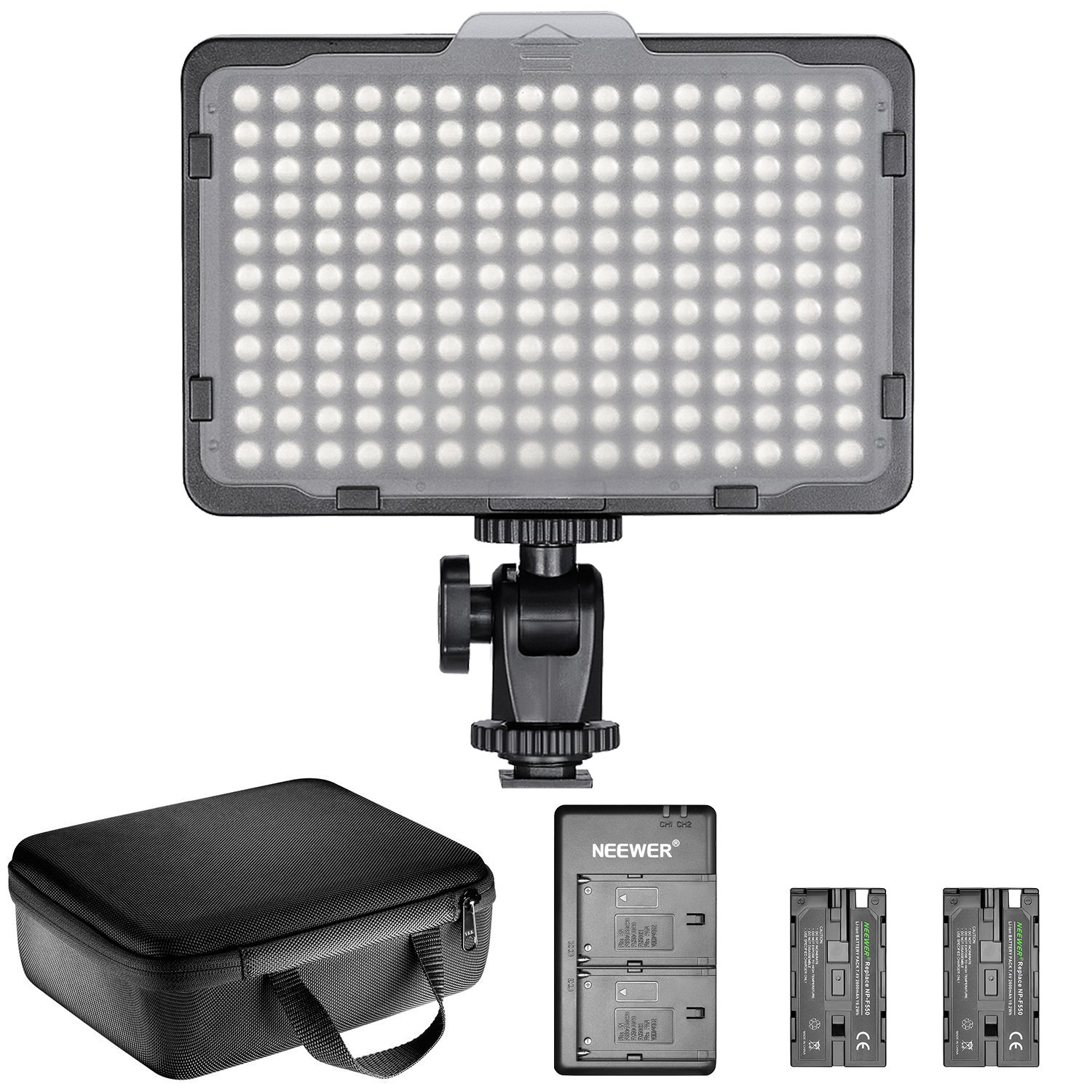 Neewer Dimmable 176 LED Video Light Lighting Kit: 176 LED Panel 3200-5600K, 2 Pieces Rechargeable Li-ion Battery, USB Charger and Portable Durable Case for Canon, Nikon, Pentax, Sony DSLR Cameras by Neewer