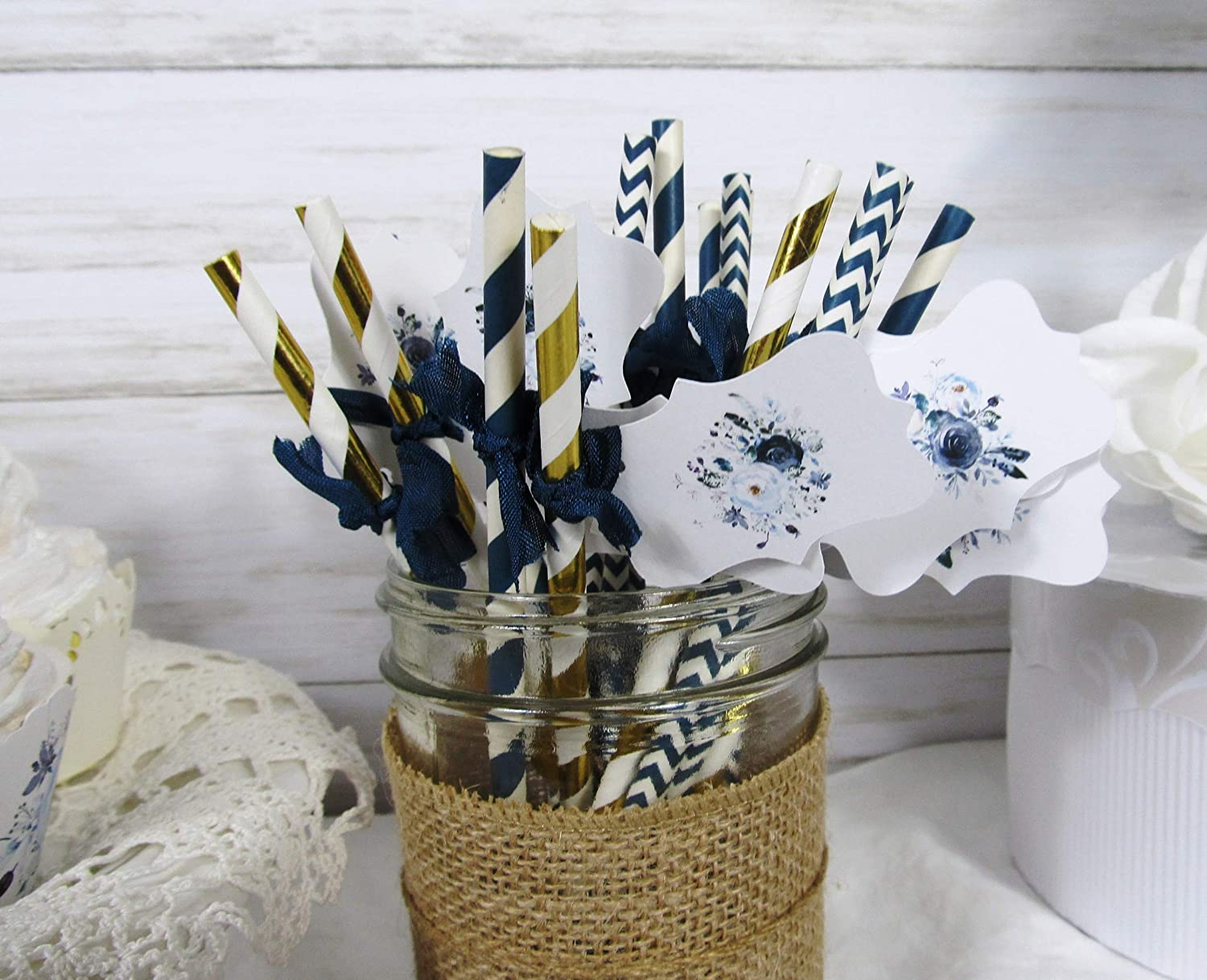 Its a Boy Blue Watercolor Floral Baby Shower Decorations Package