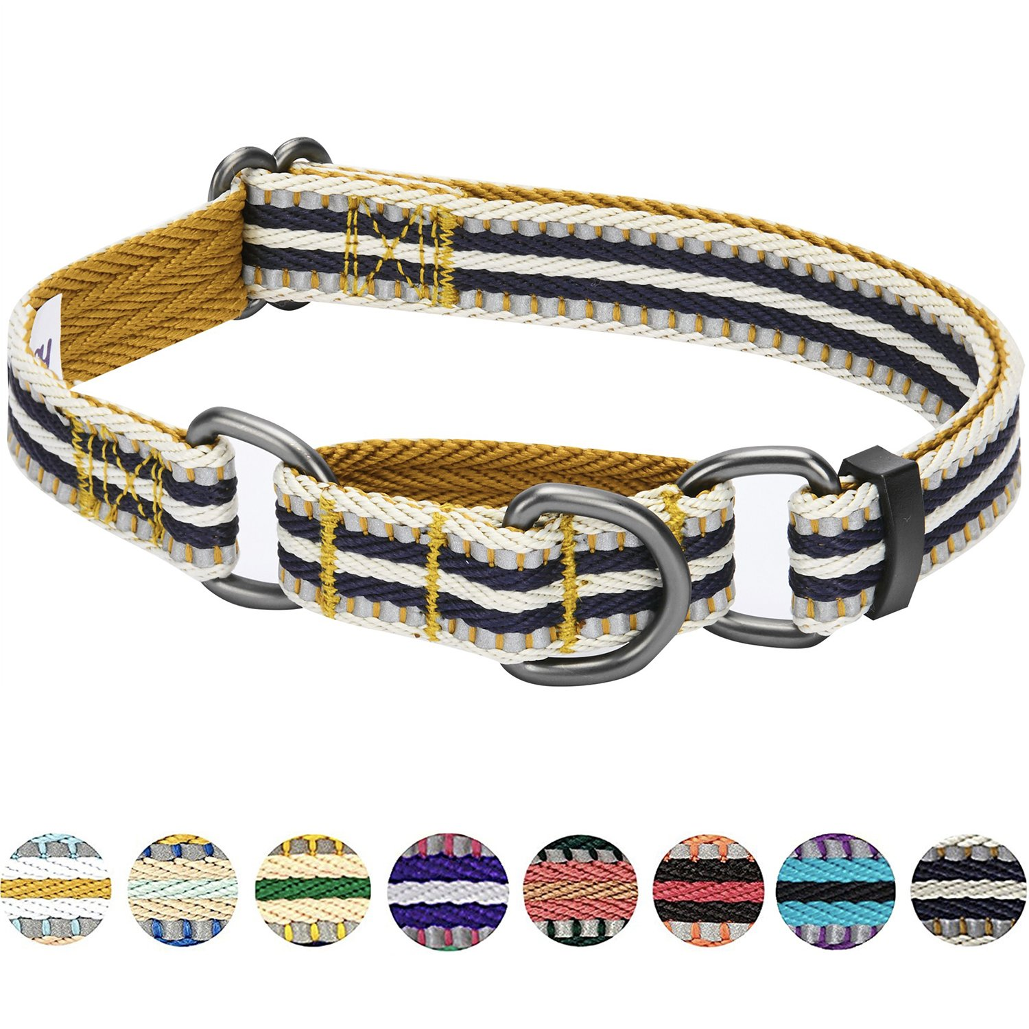 Blueberry Pet 8 Colors 3M Reflective Multi-colored Stripe Safety Training Martingale Dog Collar, Olive and Blue-gray, Small, Heavy Duty Adjustable Collars for Dogs