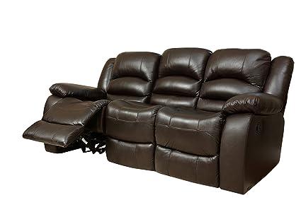 Amazon.com: Abbyson Dallas Italian Leather Reclining Sofa, Brown ...